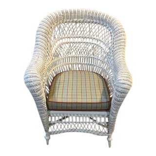 Vintage Wicker Arm Chair For Sale