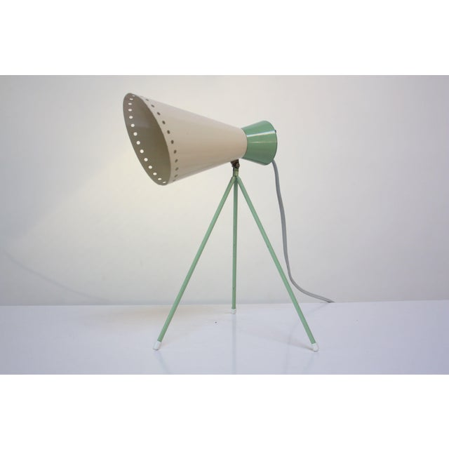 Josef Hurka Mint Green Tripod Table Lamp by Josef Hurka for Napako For Sale - Image 4 of 13
