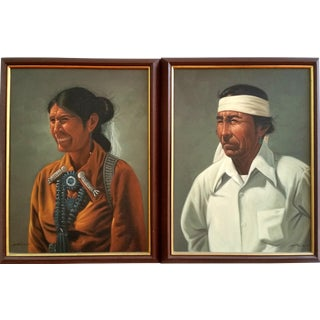 Native American Indian Couple Portrait Oil Paintings - a Pair For Sale