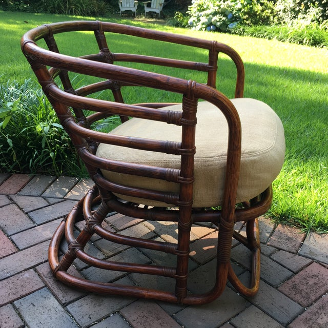 Rattan chair by Brown Jordan. Original finish in very good vintage condition. Made in the 1970s