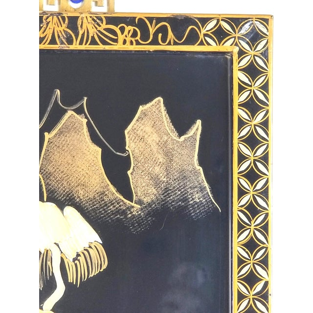 Black Vintage Japanese Black Lacquered Mother of Pearl, Bone Wall Panel For Sale - Image 8 of 10