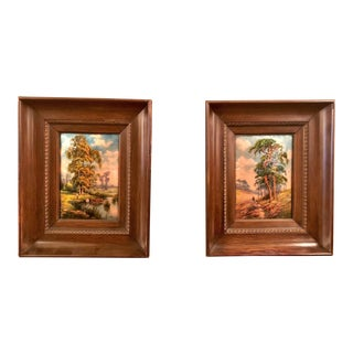Pair Antique French Framed Limoges Enamels With Pastoral Paintings, Circa 1890-1900 For Sale