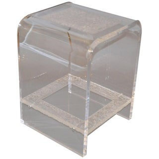 Modern Two-Tier Clear Lucite & Crystallized Lucite Side Table, End Table For Sale