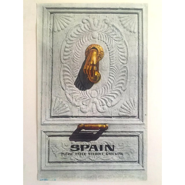 """This vintage Mid Century rare """" Please Enter Without Knocking """" collector's Spain travel poster is a very special and..."""