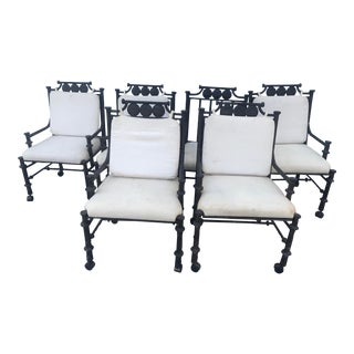 Set of 6 Kessler/Lane Cast Iron Outdoor Patio Chairs For Sale