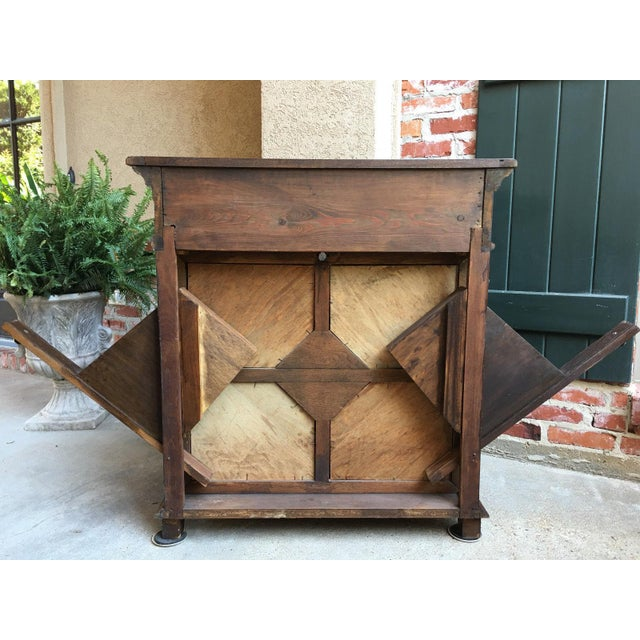 Antique English Carved Oak Barley Twist Hall Console Table Cabinet Gothic Stand For Sale - Image 10 of 12