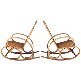20th Century Stunning Art Deco Bentwood and Reed Seats Rocking Chairs Preview