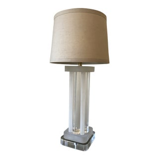 1970s Art Deco Revival Lucite Table Lamp For Sale