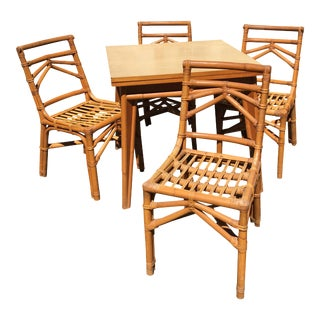 Vintage Table & Rattan Chairs - Dining Set