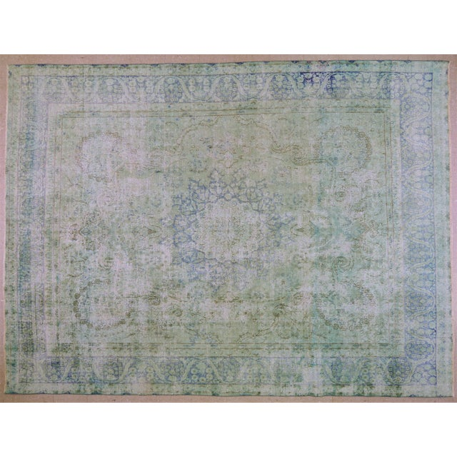 """Textile 1940s Boho Chic Persian Kerman Blue Wool Rug - 9'7""""x12'9"""" For Sale - Image 7 of 7"""