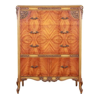 Romweber French Provincial Louis XV Burled Mahogany Highboy Dresser For Sale