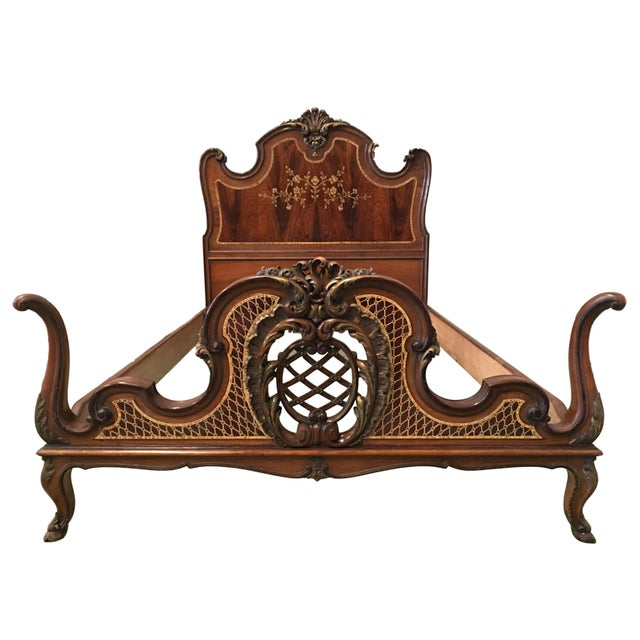 Baroque 1930s Venetian Baroque Twin Marquetry & Carved Walnut Beds - A Pair For Sale - Image 3 of 11