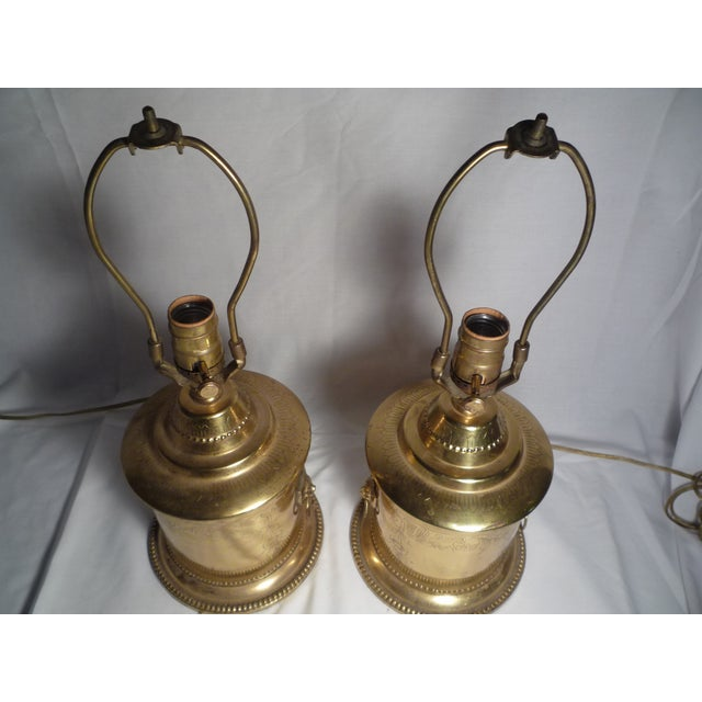Brass Lion Head Hollywood Regency Lamps - A Pair - Image 2 of 6