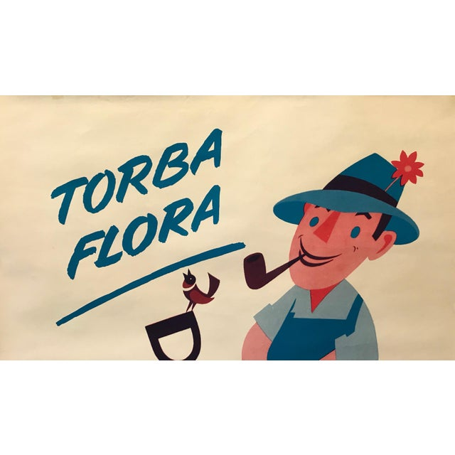 1960s 1960s Italian Agricultural Poster, Torba Flora (Man on a Tractor) For Sale - Image 5 of 9