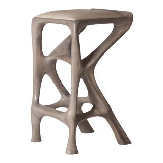 Amorph Chimera Stained Gray Oak Bar Stool For Sale