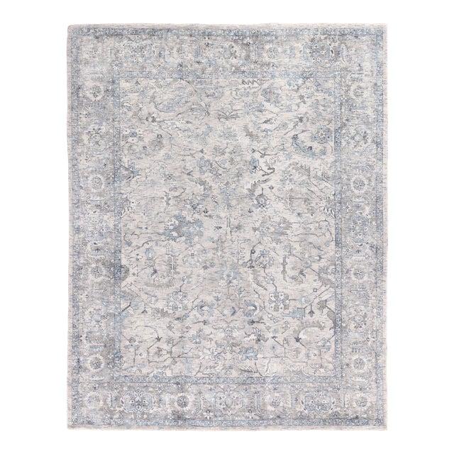 Exquisite Rugs Biron Handmade Wool & Viscose Beige & Blue - 8'x10' For Sale