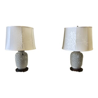 1950s Chinese Pierced Ceramic Lamps - a Pair For Sale