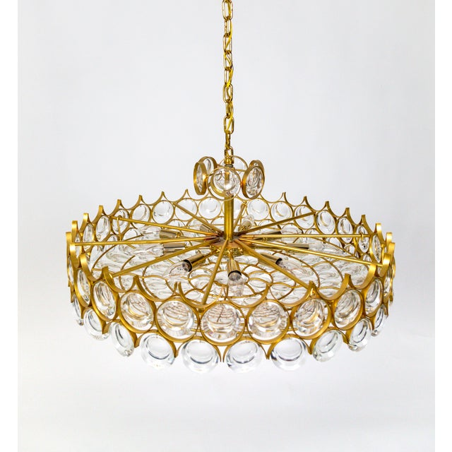 Art Nouveau Large Palwa Circular Gilt Brass and Optical Lens Crystal Chandelier (2 Available) For Sale - Image 3 of 11