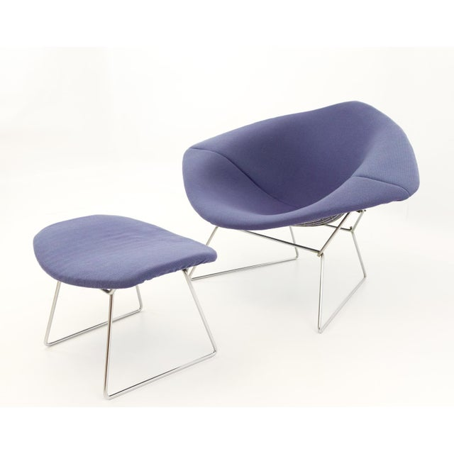 Mid-Century Modern Vintage Mid-Century Harry Bertoia for Knoll Diamond Rocking Chair & Ottoman - 2 Pieces For Sale - Image 3 of 13