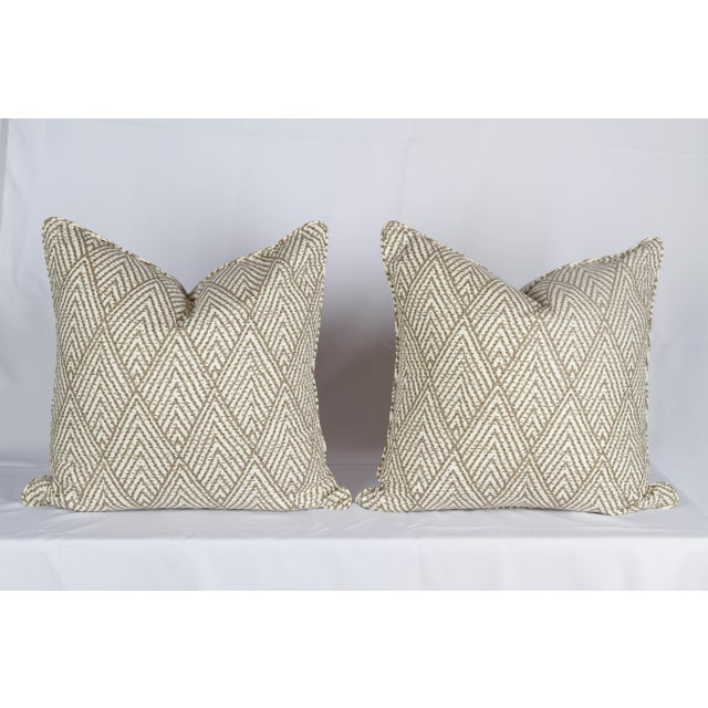Tahitian Stitch Ikat Pillows - A Pair For Sale - Image 4 of 5
