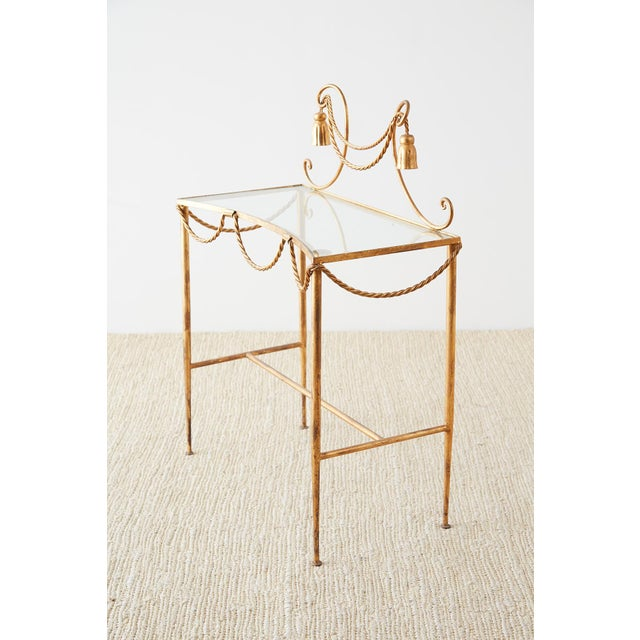 Hollywood Regency Hollywood Regency Gilt Iron and Faux Rope Vanity For Sale - Image 3 of 13