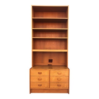 Danish Modern Teak Shelving Unit With Six Drawers For Sale