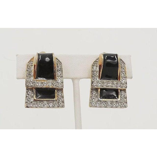 Black 1980s Valentino Black Enamel Buckle Earrings For Sale - Image 8 of 9