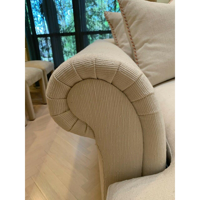 Custom Fainting Couch With Left Arm Rest and Textured Fabric For Sale - Image 11 of 12