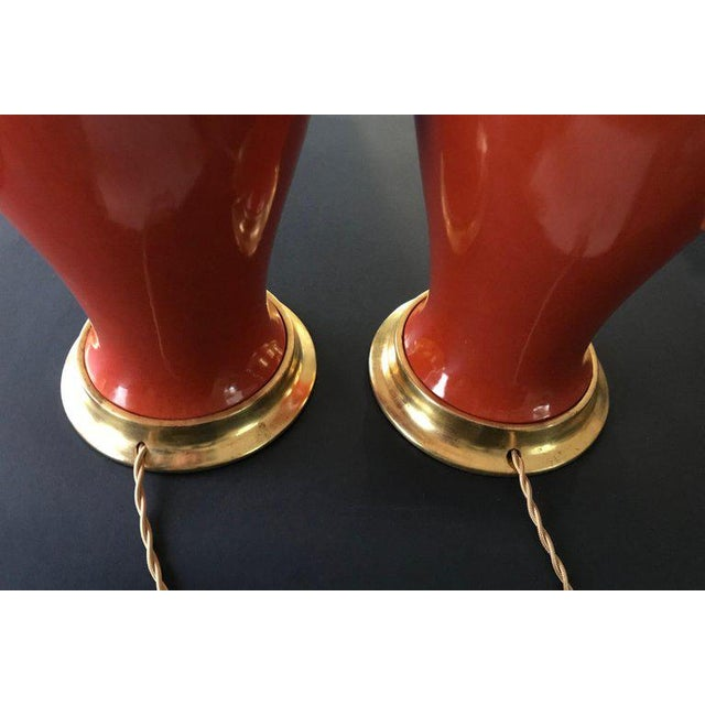 1960s Japanese Orange Porcelain Lamps - a Pair For Sale - Image 10 of 13