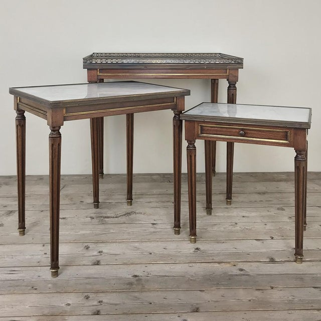 Metal Set of Antique Directoire Marble Top Nesting Tables For Sale - Image 7 of 13