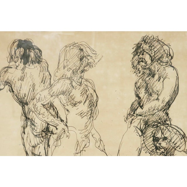 Fabulous quick sketch line drawings by listed artist Louis Field (1898 - 1986). Great movement and character in every...