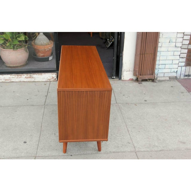 Metal Mid-Century Style Walnut Credenza For Sale - Image 7 of 11