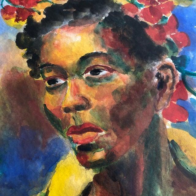 Original Vintage Mid Century Modern Female Watercolor Portrait Painting Signed Original Modernist Frame For Sale - Image 4 of 7
