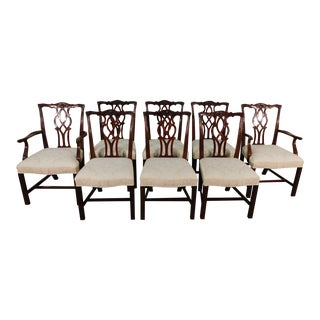 1990s Vintage Kindel Winterthur 18th C Collection Oxford Chippendale Dining Chairs- Set of 8 For Sale