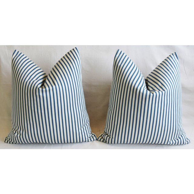 """French Blue & White Feather/Down Ticking Striped Pillows 23"""" Square - Pair For Sale In Los Angeles - Image 6 of 13"""