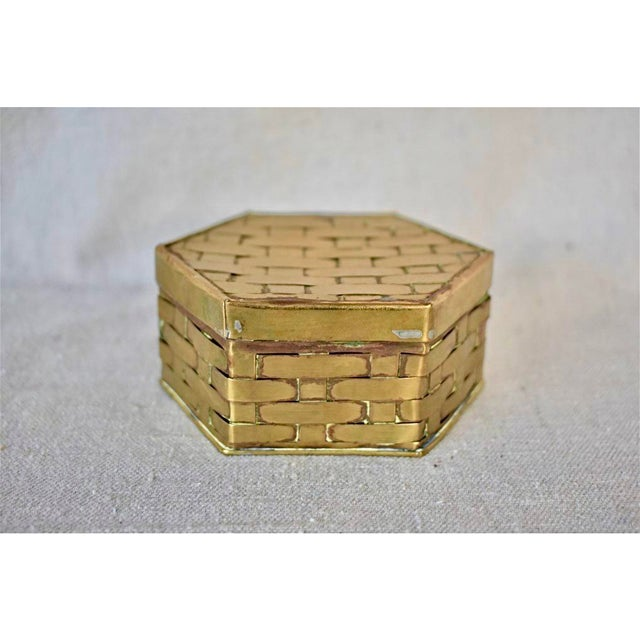 1970s Hexagon Brass Basketweave Box For Sale In New Orleans - Image 6 of 6