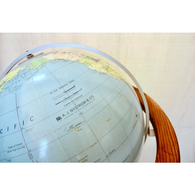 Metal A J Nystrom & Co. 1968 Standing Library Globe For Sale - Image 7 of 12