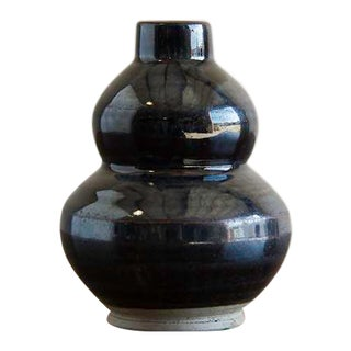 Antique Chinese Double Gourd Black Glazed Vase, Kuang Hsu Period, c.1875 For Sale