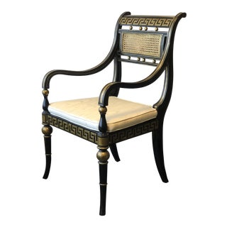 Hollywood Regency Gold & Black Greek Key Accent Chair by Maitland Smith For Sale