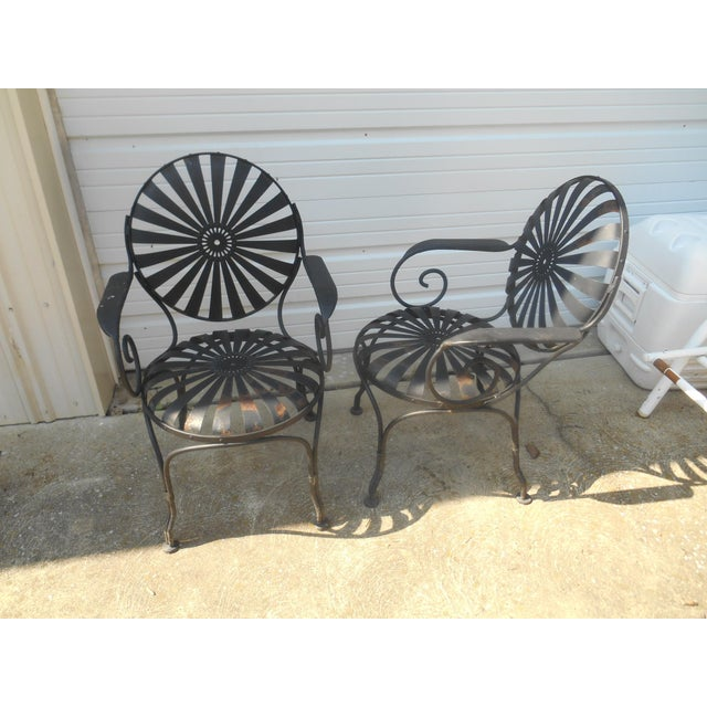Francois Carre 1940s Francois Carre French Art Deco Iron Sunburst Garden Side Chairs- a Pair For Sale - Image 4 of 6