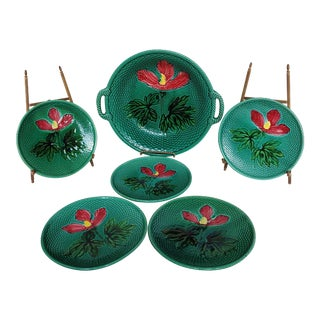 Zell German Majolica Bowl / Tray and Decorative Plates - Set of 6 For Sale