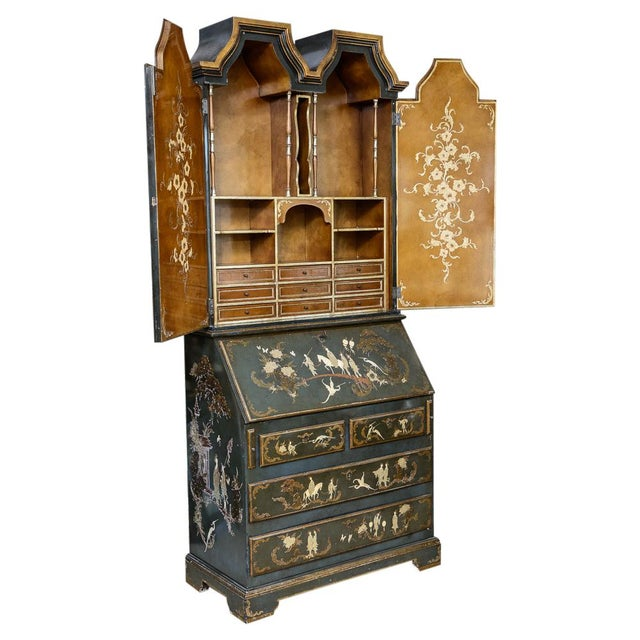 Chinoiserie Chippendale Style Hunter Green & Gilt Lacquered Secretaire For Sale - Image 13 of 13
