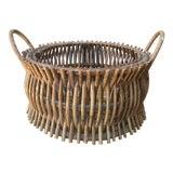Image of Vintage Primitive Handmade Wooden Basket For Sale