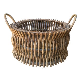 Vintage Primitive Handmade Wooden Basket For Sale