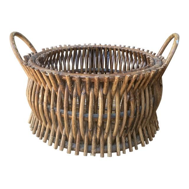 Vintage Primitive Handmade Wooden Basket For Sale