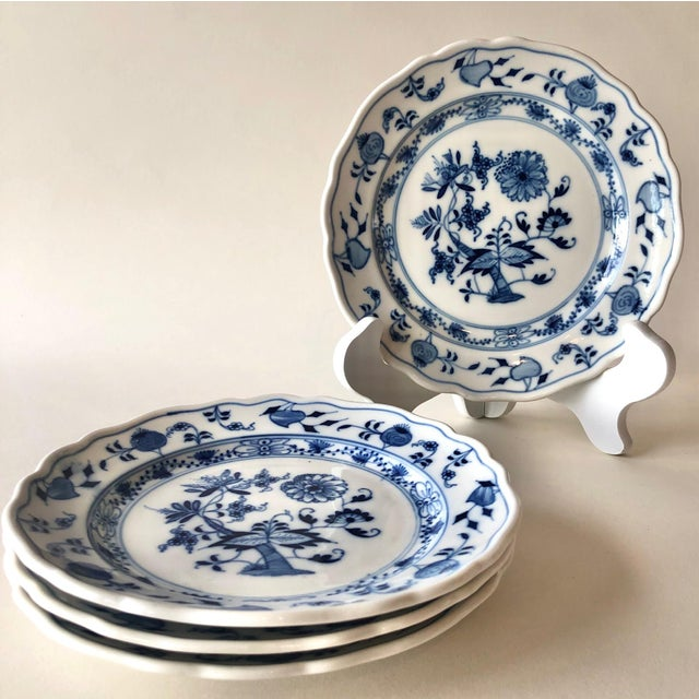 Set of Vintage Blue Onion Meissen Bread or Dessert Plates by Carl Teichert. Matching set marked #2 with an arrow, c. 1900....