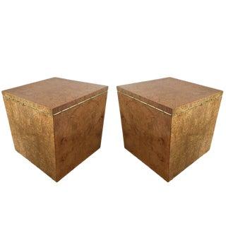 Mid-Century Burlwood Cube End Tables - A Pair