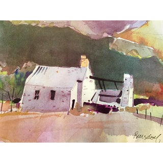 1990s Pastoral Cottage Watercolor Painting For Sale