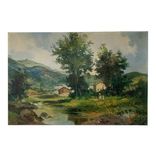 Mid-Century Mountain Valley Landscape, Oil on Canvas For Sale