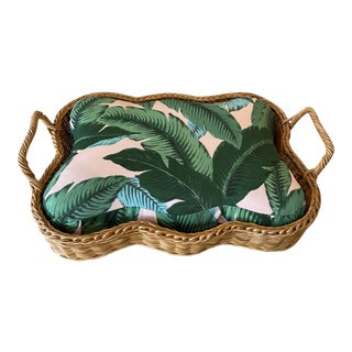 Vintage Wicker Tropical Leaf Upholstery Small Dog Pet Bed For Sale